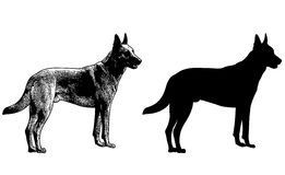 Het silhouet van de Duitse herderhond en schetsillustratie Stock Afbeeldingen
