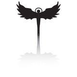 Het silhouet van de engel met schaduw Stock Foto