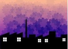 Het silhouet van de fabriek met achtergrond Royalty-vrije Stock Afbeeldingen