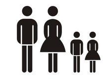 Het silhouet van de familie Royalty-vrije Stock Afbeeldingen