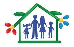 Het silhouet van de familie Stock Afbeelding