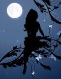 Het silhouet van de fee in nachthemel Stock Afbeelding