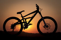 Het silhouet van de fiets Royalty-vrije Stock Foto's