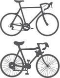 Het silhouet van de fiets Stock Foto's