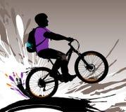 Het silhouet van de fietser. Stock Fotografie
