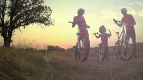 Het silhouet van de fietserfamilie op het gebied bij zonsondergang stock footage