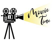Het silhouet van de filmprojectie Het concepten vectorillustratie van de filmtijd stock illustratie