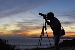 Het silhouet van de fotograaf Royalty-vrije Stock Foto