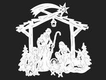 Het silhouet van de geboorte van Christus stock illustratie