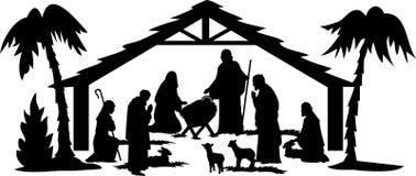 Het Silhouet van de geboorte van Christus/eps royalty-vrije illustratie
