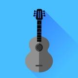 Het silhouet van de gitaar Stock Foto's