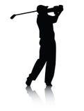 Het silhouet van de golfspeler met Schaduw Royalty-vrije Stock Afbeeldingen
