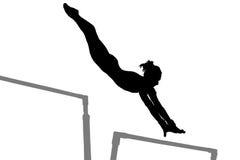 Het silhouet van de gymnastiekvrouw Stock Afbeelding