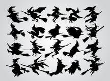 Het silhouet van de heks Stock Foto