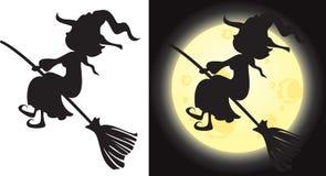 Het silhouet van de heks - Halloween-karakter Stock Afbeeldingen