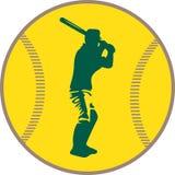 Het silhouet van de honkbalspeler ` s tegen de achtergrond van een honkbalbal Royalty-vrije Stock Fotografie