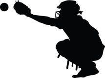 Het Silhouet van de honkbalvanger royalty-vrije stock foto's