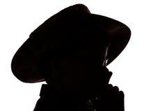 Het silhouet van de jongen stock fotografie