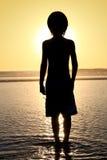 Het silhouet van de jongen stock foto's