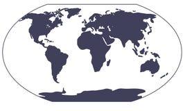 Het Silhouet van de Kaart van de wereld Stock Afbeelding
