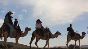 Het silhouet van de kamelencaravan