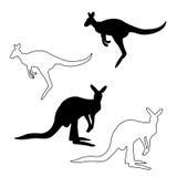 Het silhouet van de kangoeroe Stock Afbeelding