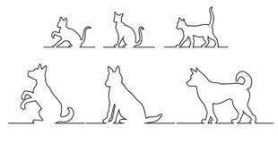 Het silhouet van de kat en van de hond Stock Afbeeldingen