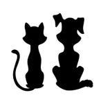 Het silhouet van de kat en van de hond Royalty-vrije Stock Afbeeldingen
