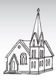 Het silhouet van de kerk royalty-vrije illustratie