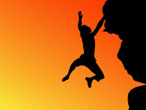 Het silhouet van de klimmer Stock Afbeelding