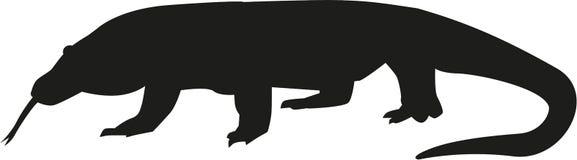 Het silhouet van de Komododraak Royalty-vrije Stock Foto