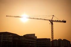 Het silhouet van de kranenbouw Royalty-vrije Stock Foto