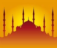 Het silhouet van de moskee Stock Fotografie