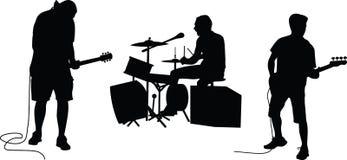 Het silhouet van de muziekband Stock Afbeeldingen
