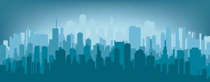 Het silhouet van de ochtendstad Stock Afbeeldingen