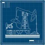 Het silhouet van de oliepomp op blauwdrukachtergrond Stock Afbeeldingen