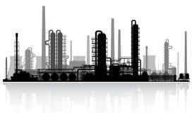 Het silhouet van de olieraffinaderij. Vectorillustratie. Royalty-vrije Stock Foto's