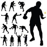 Het silhouet van de pingpongspeler Royalty-vrije Stock Afbeeldingen