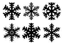 Het silhouet van de sneeuwvlokkenwinter, pictogramreeks Vectordieinzameling van sneeuwvlokpictogrammen, op witte achtergrond word royalty-vrije illustratie