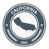 Het silhouet van de staat van Californië - zegel Stock Afbeelding