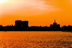 Het Silhouet van de stad stock foto's