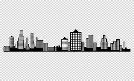 Het silhouet van de stad in een vlakke stijl Modern stedelijk landschap Vector illustratie vector illustratie
