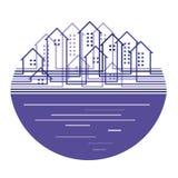 Het silhouet van de stad in ovale vorm royalty-vrije illustratie