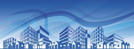 Het silhouet van de stad over blauwe hemel. EPS10 stock illustratie