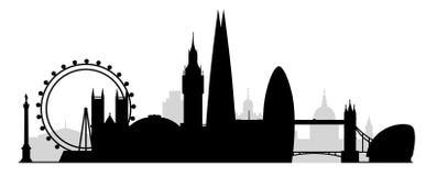 Het silhouet van de stadsgebouwen van Londen Stock Afbeelding