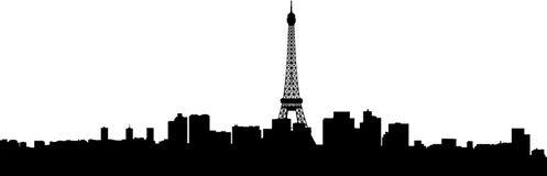 Het silhouet van de stadsgebouwen van Parijs Stock Foto