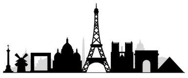 Het silhouet van de stadsgebouwen van Parijs Stock Afbeeldingen