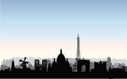 Het silhouet van de stadsgebouwen van Parijs Frans stedelijk landschap Parijs c Royalty-vrije Stock Afbeeldingen
