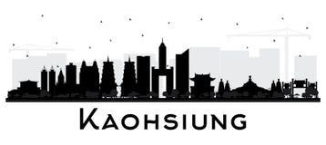 Het Silhouet van de de Stadshorizon van Kaohsiungtaiwan met Zwarte die Gebouwen op Wit worden geïsoleerd vector illustratie