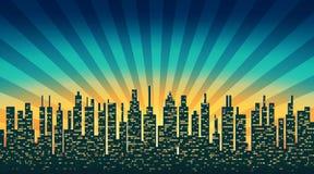 Het silhouet van de stadshorizon met verlichte Vensters in backgrou stock illustratie